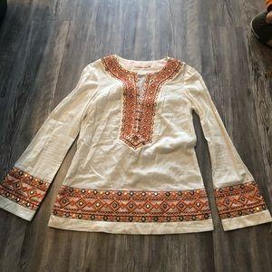 Tory Burch White & Orange Embellished Tunic size 0